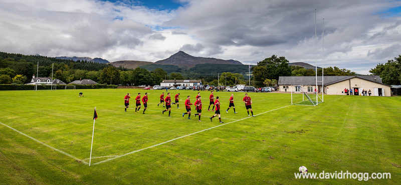 Pre-match warmup for today's inaugural home match versus Kilmarnock, at the Ormidale Pavilion, Brodick.  More shots to follow...
