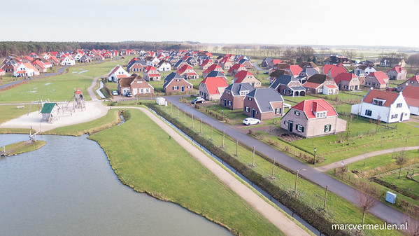 Kite aerial picture of holiday parc The Leistert in Roggel, the Netherlands.