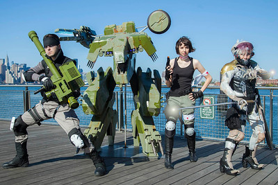 Solid Snake, Metal Gear REX, Meryl, & Raiden