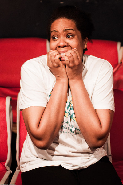 Sonja Inge, INTIMATE APPAREL's director, is definitely ready for opening night as she sits calmly during the tech rehearsal.