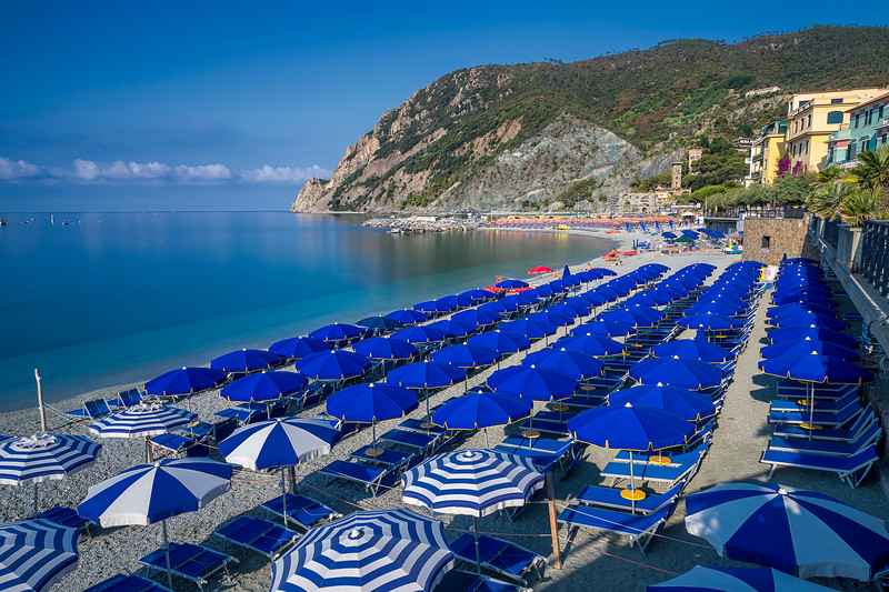 Blue and White Beach Umbrellas