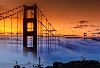 Morning Fog over Golden Gate Bridge