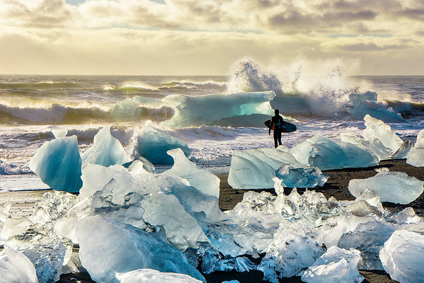 Waiting to paddle out in Iceland