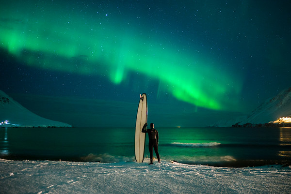 Longboarding under the Northern Lights