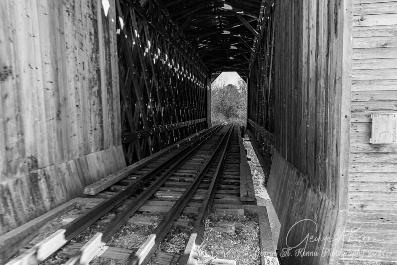 Covered train bridge