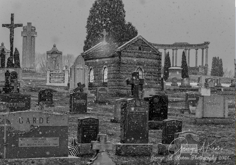 Precious Blood cemetery in the snow