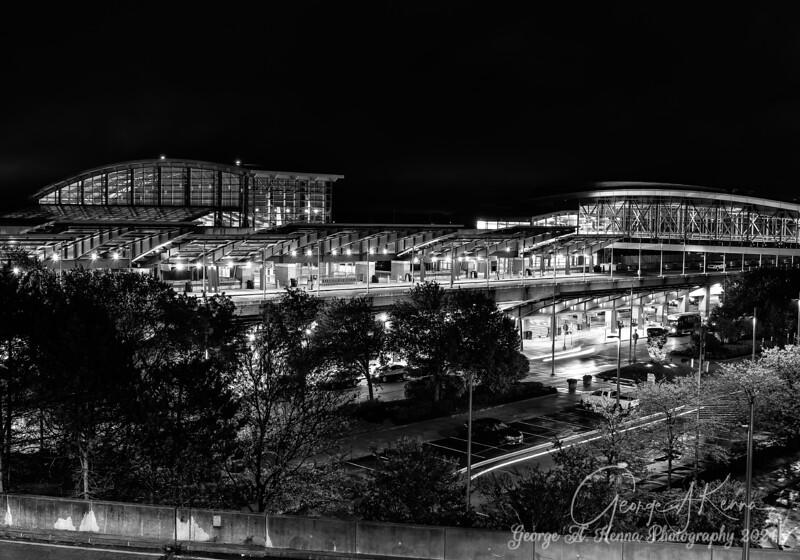 the TF Green Airport at night