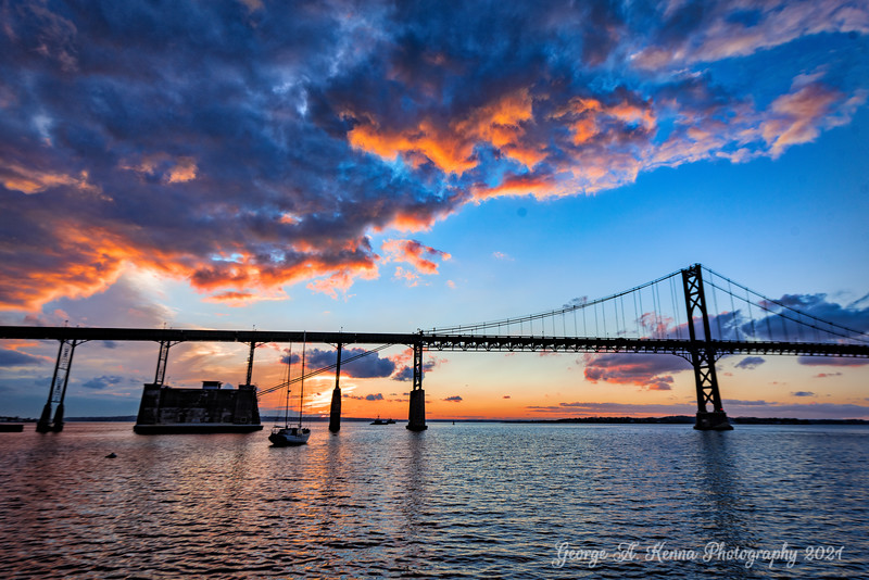 The Mount Hope Bridge at sunset