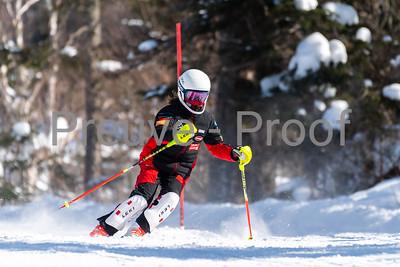 Mont-Tremblant, QC, Canada  - February 21 2021:  Club De Ski Mont-Tremblant SL training in Alpine Haut  Photo by:  Gary Yee (garyphoto.ca)