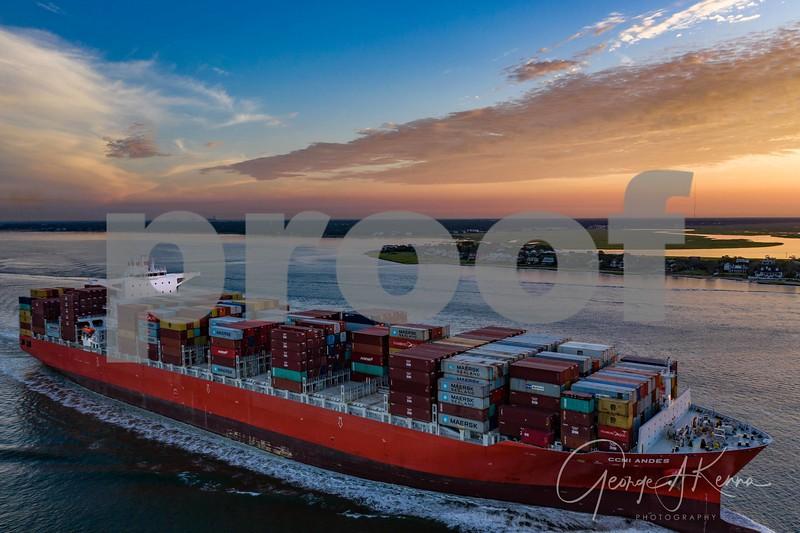 Cargo Ship Leaving Charleston at High Tide