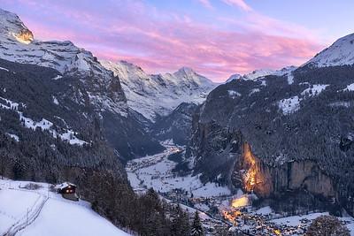 Last light in Lauterbrunnen    Switzerland