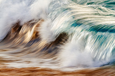Breaking wave capture with a slow shutter speed on the north shore of Oahu