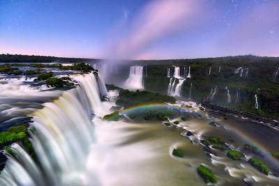 Moonlight rainbow at the Iguazu Falls