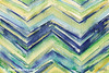 Blue Green Yellow Chevron Painting - Beverly Brown Art Prints