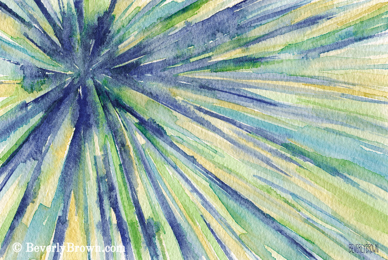 Blue Green Yellow Starburst Abstract Art - Beverly Brown Art Prints