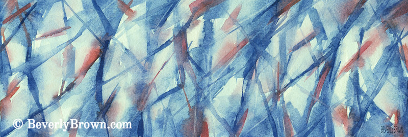 Blue White Coral Abstract Artwork - Beverly Brown Art Prints