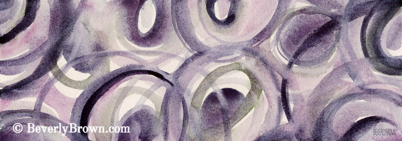 Purple Green Circles Abstract Painting - Beverly Brown Art Prints