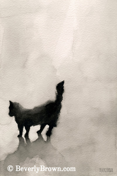 Watercolor Black Cat Painting - Beverly Brown Art Prints