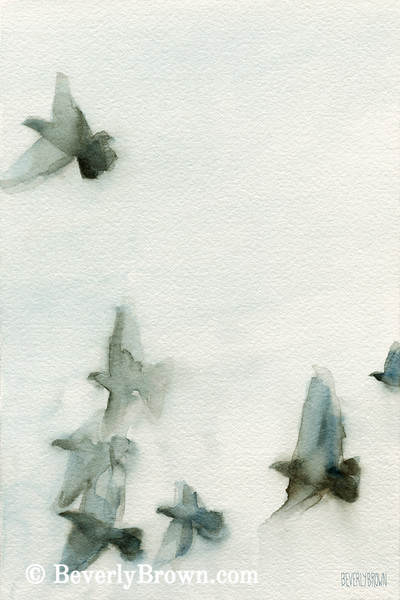 Flock of Birds I Watercolor Painting - Beverly Brown Art Prints