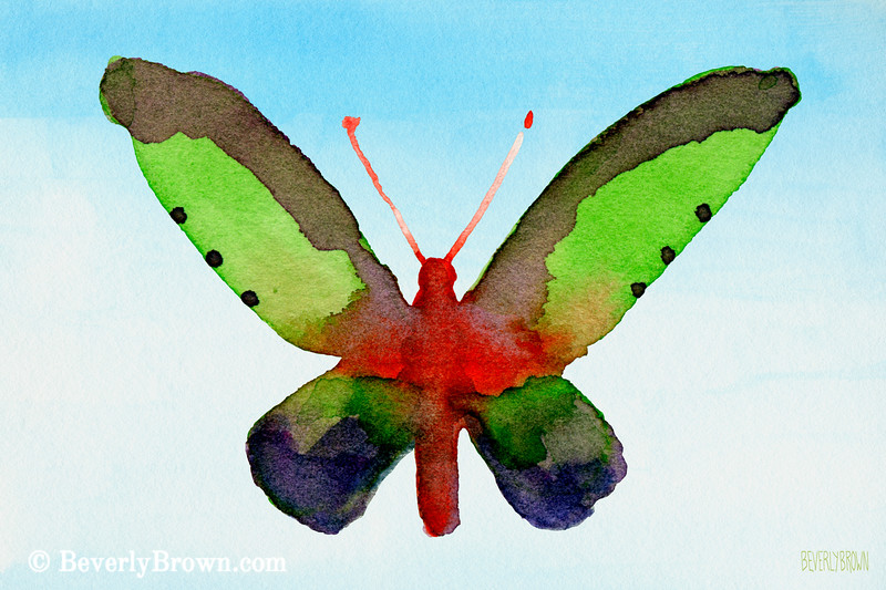 Purple Green Red Butterfly Painting - Beverly Brown Art Prints