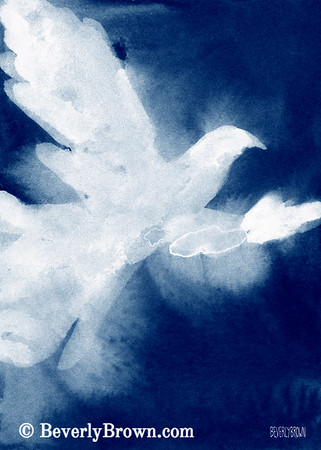 An ethereal painting of a white dove available as a print on canvas, paper, metal or acrylic in multiple sizes by artist Beverly Brown. www.beverlybrown.com