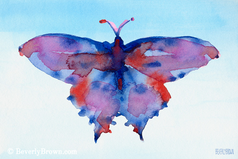 Blue + Red Watercolor Butterfly Painting - Beverly Brown Art Prints