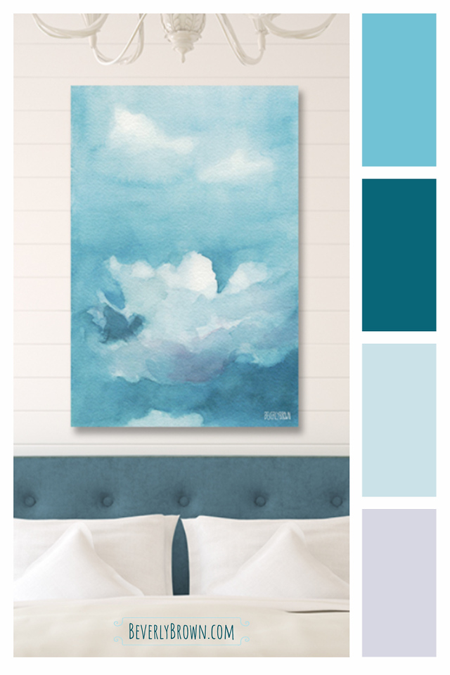 Blue and White Bedroom Color Scheme with Blue Clouds Canvas Art by Beverly Brown