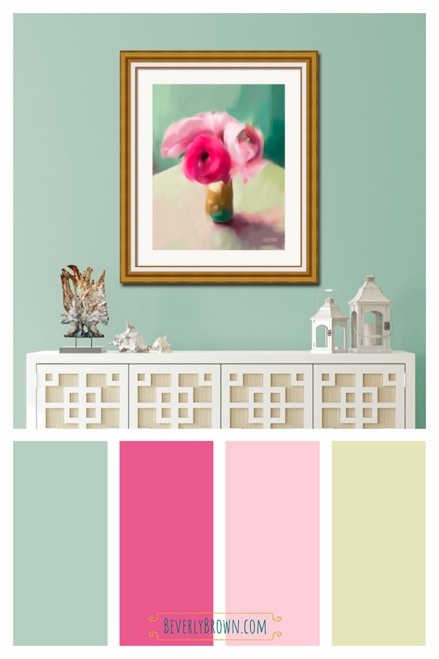 Pink, aqua blue, teal and lemon yellow cottage chic color scheme home decor inspired by a painting of pink ranunculus by Beverly Brown. This pretty, feminine floral inspired color palette would compliment vintage inspired, shabby chic, modern farmhouse, cottage style and glam interior design. The color scheme would look beautiful in a bedroom, living room, office,she shed, bathroom, or a powder room.