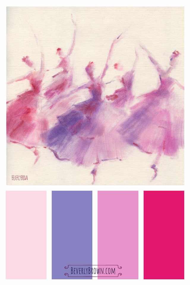 Pink and purple color scheme for the home inspired by a ballerina wall art print by Beverly Brown - beverlybrown.com.