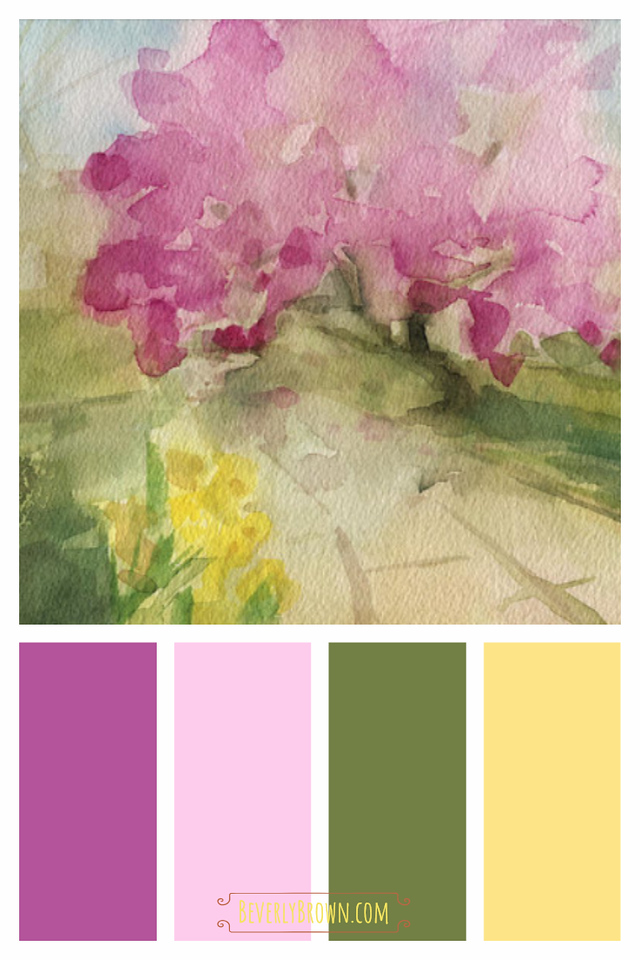 Pink, Green & Yellow Spring Color Scheme for Home Decor