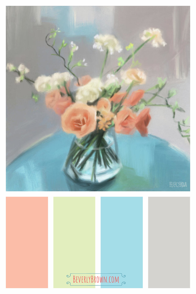 Peach, Blue, Grey, Cream Shabby Chic Color Scheme for Home Decor