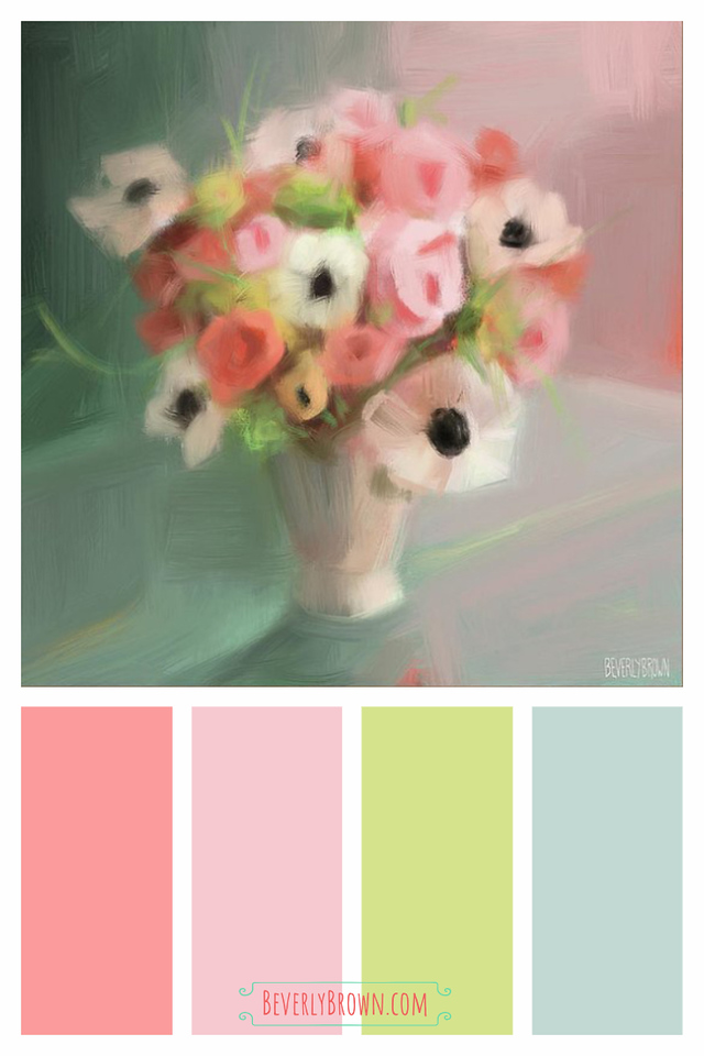 Pink Coral Spring Green Aqua Vintage Chic Color Scheme for Home Decor