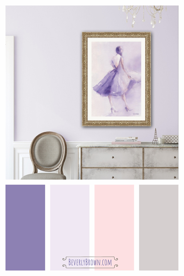 Lavender, purple, blush pink, grey color scheme for a living room, bedroom or foyer. Lavender dress framed wall art by Beverly Brown.