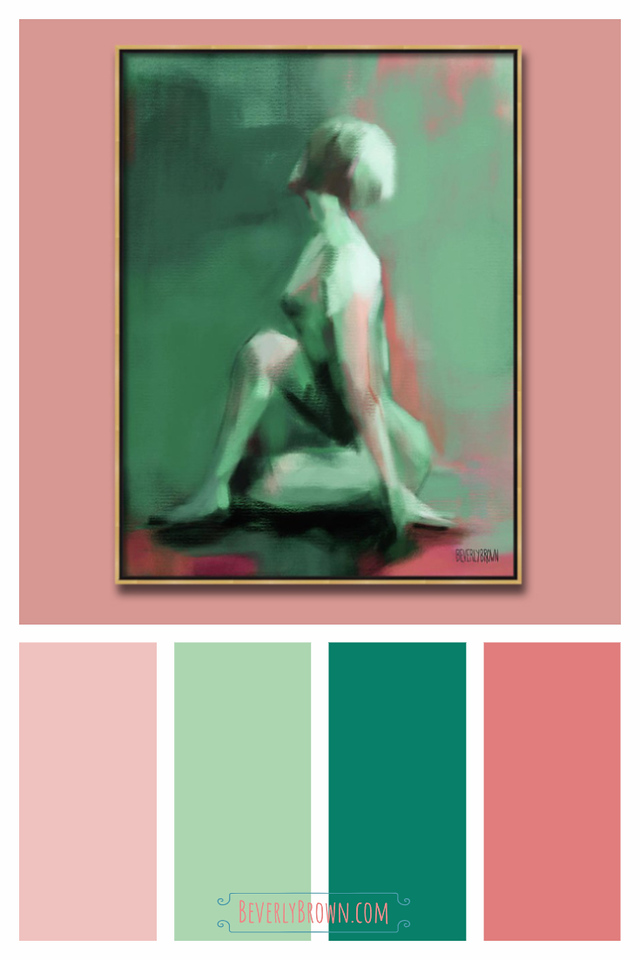 Jade Emerald Coral Pink Chic Glam Color Scheme for Home Decor