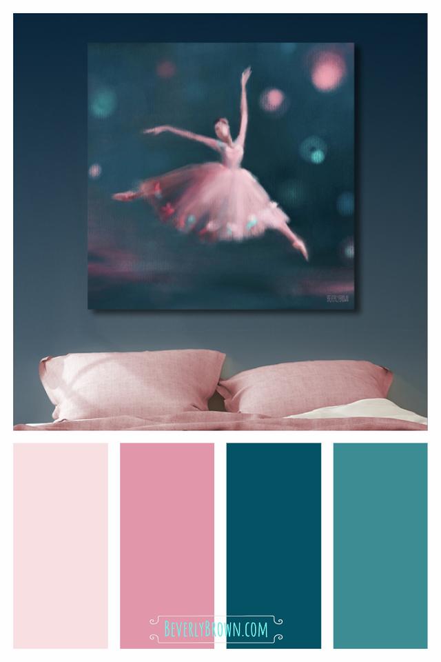 Dark Peacock Blue, Teal & Pink Bedroom Color Scheme for Home Decor