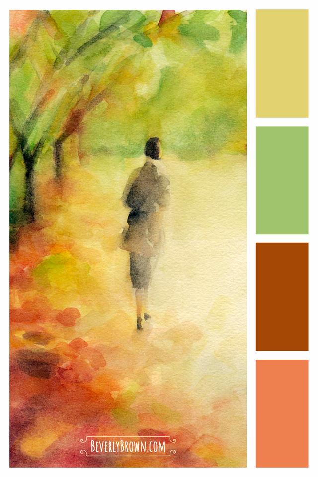 Autum earth tones gold, green, orange rust color scheme for home decor. Yellow ochre, green, rust and orange autumn inspired color scheme home decor inspiration for a living room, bedroom, bathroom or office. This warm and calming earth tone color palette would compliment rustic, modern farmhouse, boho or traditional interior design. Artwork of a woman walking among autumn leaves by Beverly Brown | beverlybrown.com