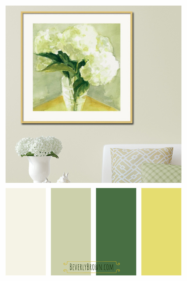 Spring Green and Yellow Cottage Style color scheme for the home featuring a watercolor white hydrangea painting by Beverly Brown. This beautiful color palette would compliment a vintage style, cottage style or farmhouse interior. A cheerful & calming color scheme for a living room, bedroom, bathroom or kitchen.