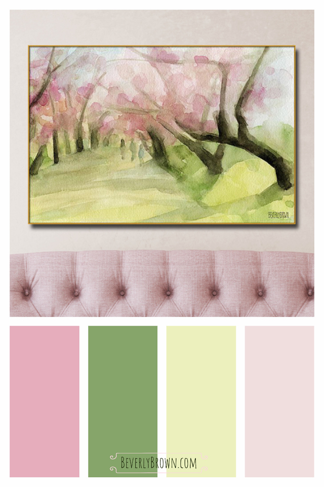 Pink and Green Modern Vintage Color Scheme for Home Decor