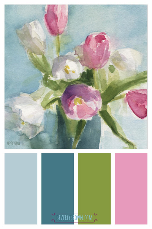 Pink, rose, aqua blue, teal and spring green shabby chic color scheme home decor inspired by a watercolor painting of tulips. This pretty, feminine floral inspired color palette would compliment vintage inspired, shabby chic, modern farmhouse , cottage style and French country interior design. The color scheme would look beautiful in a bedroom, a bathroom or a powder room. Pink and white tulips floral watercolor artwork by Beverly Brown - wall art prints for sale | https://www.beverlybrown.com