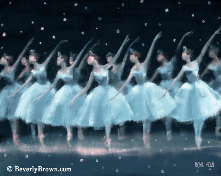 Nutcracker Ballet Waltz of the Snowflakes - Beverly Brown Prints