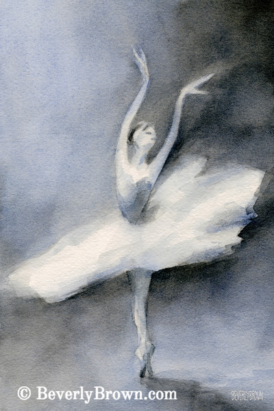 Ballerina White Tutu Watercolor Painting - Beverly Brown Art Prints