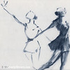 Ballet Sketch Two Dancers Mirror Images - Beverly Brown Prints