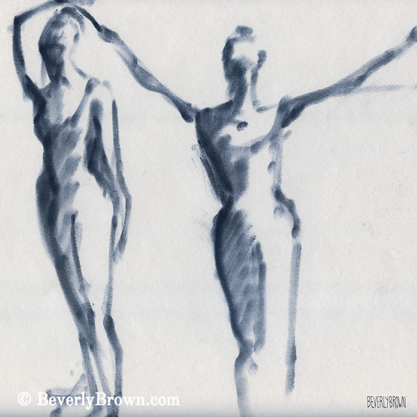 Ballet Sketch Two Dancers Arms Overhead - Beverly Brown Prints