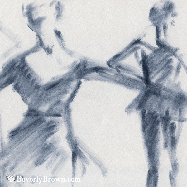 Ballet Sketch Two Dancers Gaze - Beverly Brown Prints