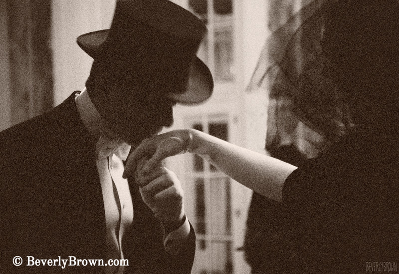 Man Kissing a Woman's Hand Sepia - Beverly Brown Art Prints
