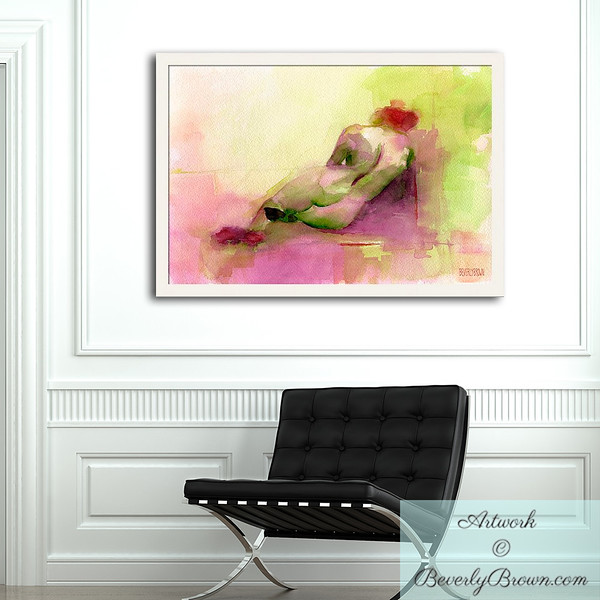 Foyer with large, custom framed, colorful, abstract reclining woman art print in chartreuse, hot pink and orange by Beverly Brown. www.beverlybrown.com