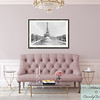 Blush Pink Living Room with Eiffel Tower Watercolor - Beverly Brown Prints