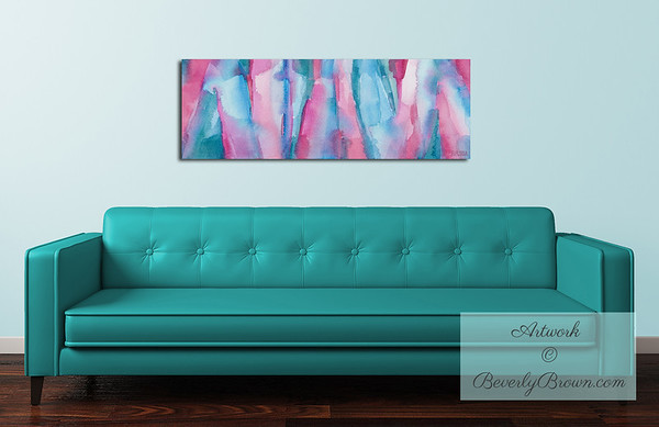 Teal, Magenta + Turquoise Abstract Art over the Sofa - Beverly Brown Canvas Art