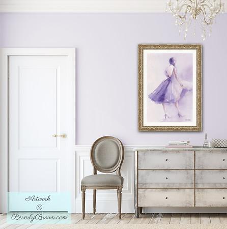 Hallway with Lavender Dress Framed Print - Beverly Brown Art Prints