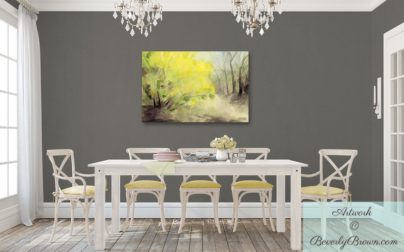 Yellow Forsythia Canvas Art for the Dining Room - Beverly Brown Prints
